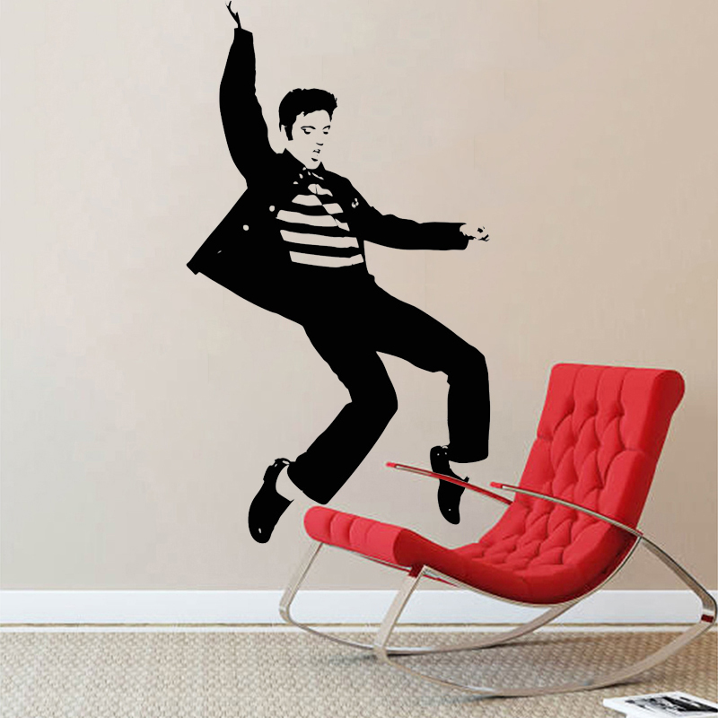 Musical Vinyl Wallpaper: Elvis Presley Play Guitar Wall Stickers Home Decor Living