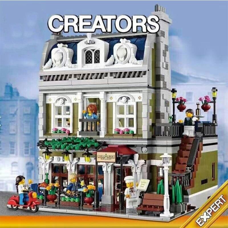 En Stock 15010 rue ville créateur série parisienne Restaurant appartements blocs de construction 2418 pièces Compatible avec Legoings 10243