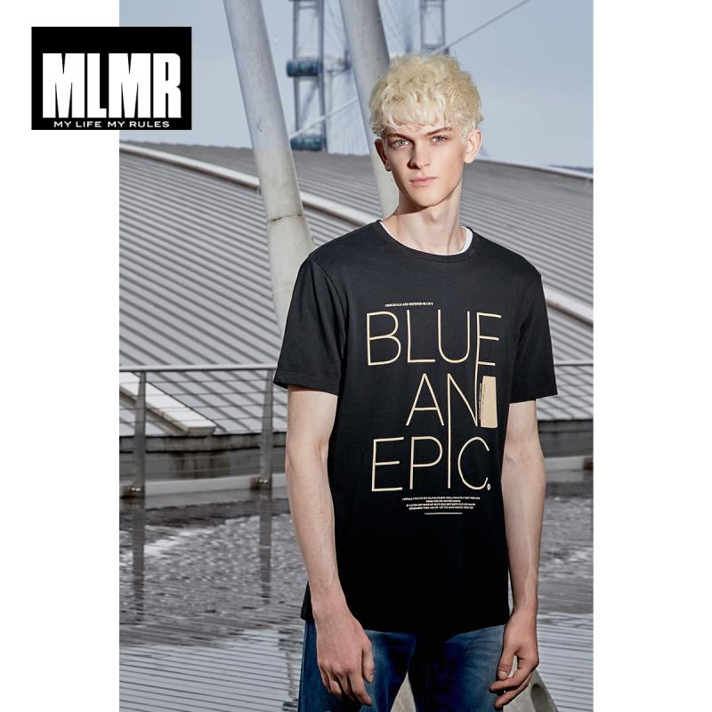 MLMR Men's 100% Cotton Letter Print Round Neckline Short-sleeved T-shirt Streetwear M|219101549