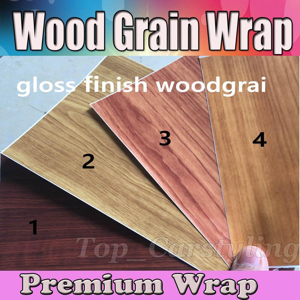 Brillant teck Grain de bois texturé vinyle Wrap autocollant feuille de décalque Film voiture style Grain de bois avec bulle d'air taille libre 1.52x20 m/rouleau