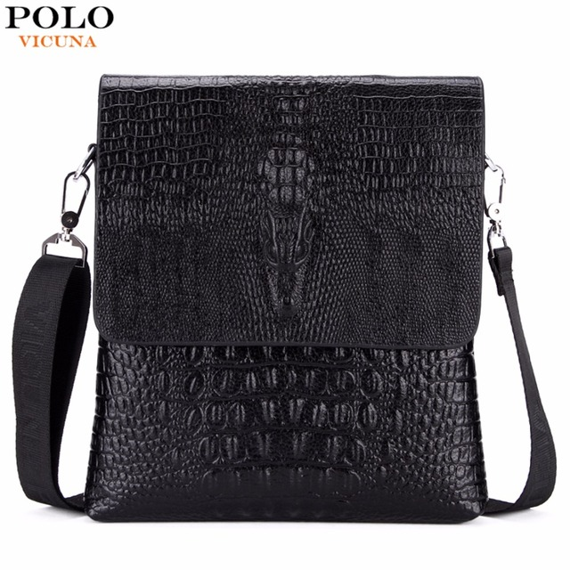 VICUNA POLO Luxury Embossed Alligator Pattern Famous Brand Men Messenger Bags Classic Business Mens Shoulder Bag Briefcase Bag