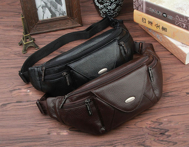 Sling Purse Pack Bag Cell Fanny Genuine Chest Men Case Belt Leather Phone Waist