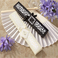 50/100pcs/lot Personalized Luxurious Silk Fold hand Fan in Elegant Laser Cut Gift Box +Party Favors/wedding Gifts