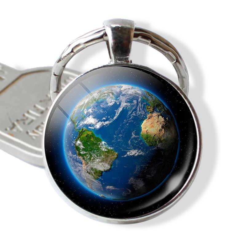 Земля планета глобальная карта стеклянный подвесной брелок металлический брелок-кольцо брелок-цепочка Серебряная цепочка для ключей Модные украшения Аксессуары