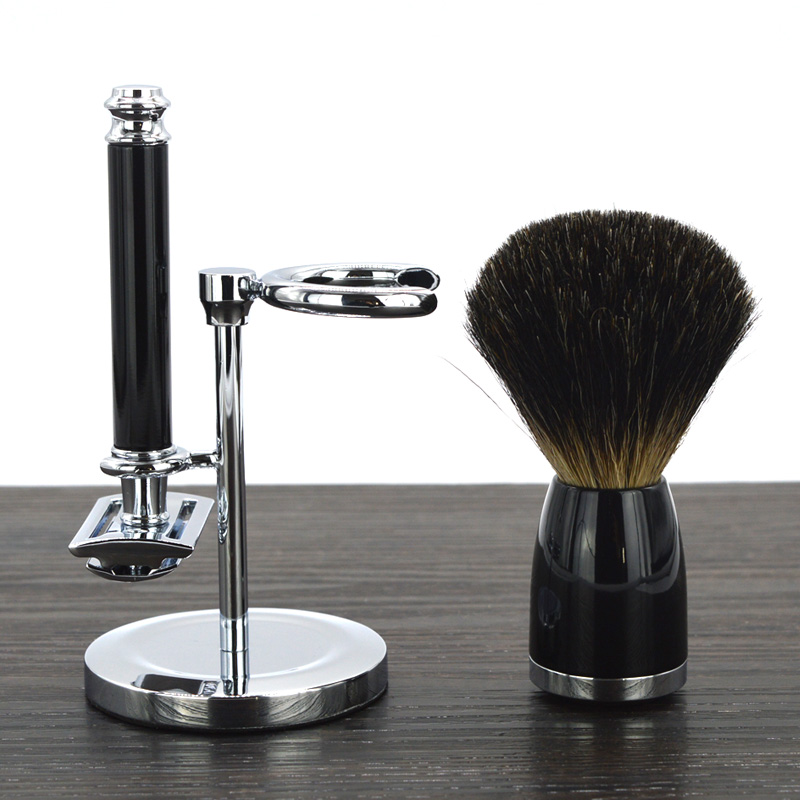 DSCOSMETIC shaving brush set with badger hair shaving brush double edge safety shaving razor and shaving brush holder stand