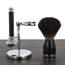 DSCOSMETIC shaving brush set with badger hair shaving brush double edge safety shaving razor and shaving brush holder stand недорого