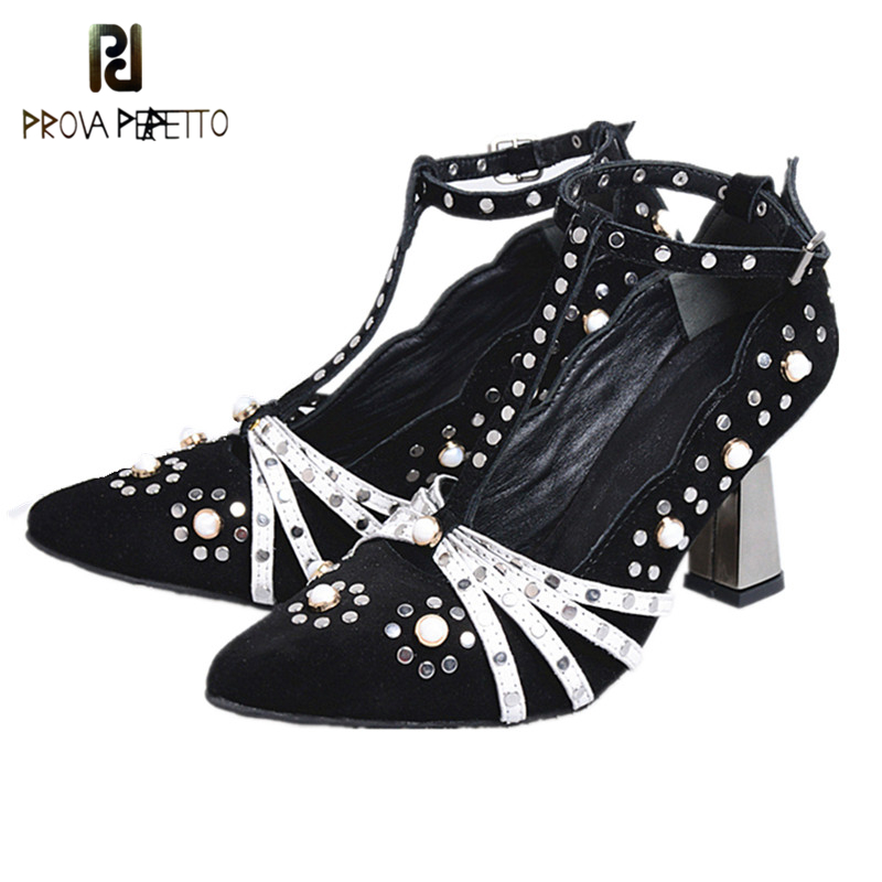 Prova perfetto Fashion Buckle Crystal Pumps Women Spring Suede Leather Shoes Elegant Single Shoes Female Rivets