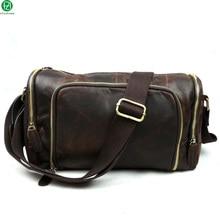 100% Real Genuine leather Travel men bags Cowhide Unisex men messenger bags Metal zipper men shoulder duffel crossbody bags
