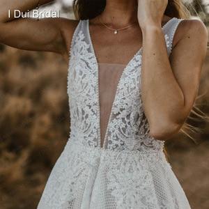 Image 4 - צולל צוואר חתונת שמלות פרל קריסטל חרוזים תחרה כלה שמלת מפעל תפור לפי מידה תמונה אמיתית