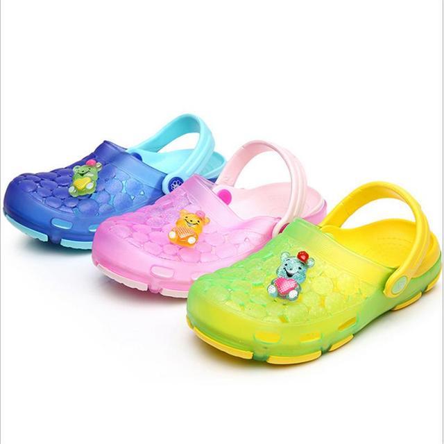 26edd2185601 Memon New Style 2016 Summer Kids Girls Boys Belt Shoes Rain Shoes Cute  Rubber Sandal 3 Color Choices Slipper Home Chinela