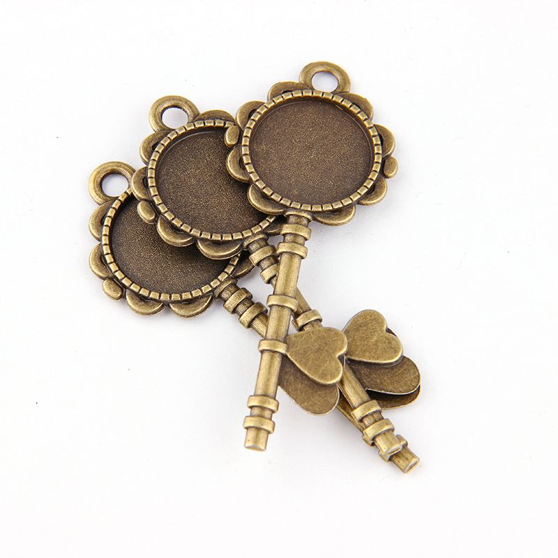 5pcs DIY Antiqued Bronze Vintage Alloy Love Key Round Cameo Cabochon Base Setting Necklace Pendant Tray 20mm Jewelry Blanks
