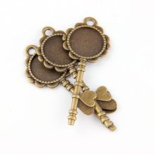 5pcs DIY Antiqued Bronze Vintage Alloy Love Key Round Cameo Cabochon