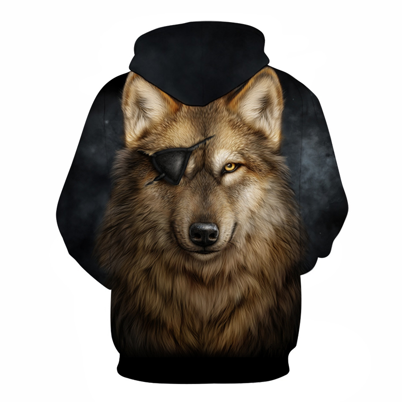 One Eyed 3D Wolf Hoodies Men Sweatshirts
