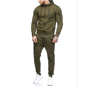 2018 Autumn New Men's High Street Hoodies Sweatpants Sets Male Solid Color Zipper Hooded Coat Jacket Sportswear Tracksuit Set 1