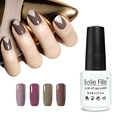 Belle Fille Nude Gel Nail Polish UV Fingernail Polish Flesh Professional Varnish Nail Base Top Coat Soak Off Gel Lacquer