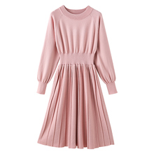 Vintage A-line Pleated Knitwear Knitted Sweater Dress