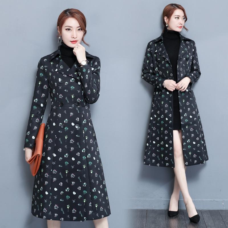 font b clothing b font Korean slim printing long coat winter jacket font b women