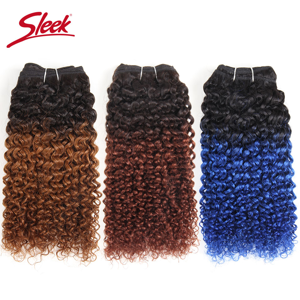 Sleek Brazilian Hair Weave Bundles 100% Human Hair Extension Nature Bohemian Curl  T1B/Blue/99J 100g Remy Hair Bundles 1 Piece
