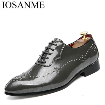 5322df6b1aefab pointed toe men formal shoes italian patent leather male footwear studded  luxury brand business suit brogue oxford shoes for men