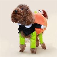 2018 New Halloween Dog Costume Novel Clothes Pet Funny Apparel Cowboy and Pumpkin Fleece Dog Coat Small Dog Super Cute Costume