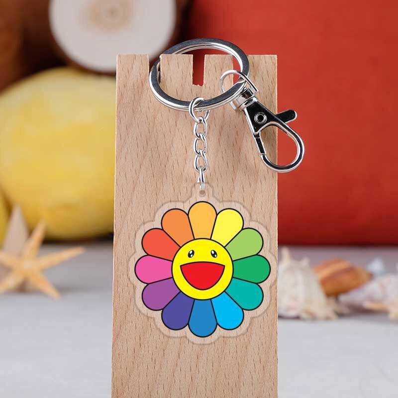 Takashi Murakami Kaikai Kiki  Keychain Cartoon Sun Flowers Key Ring