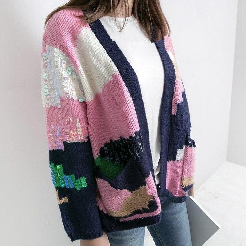 2018 hiver mode doux rose chandail Cardigans femmes à manches longues mélange couleur paillettes Femme Pull Pull Harajuku vêtements coréens
