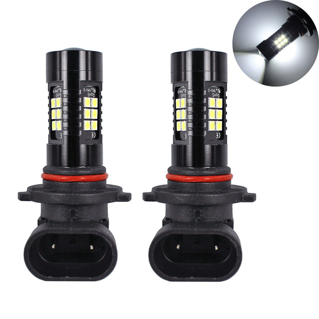 Light Bulbs For Cars 2Pcs LED Fog Lights For Car 6500K White HB3 9006 3030 LED 21SMD Car Headlight Fog Beam Power Bulb
