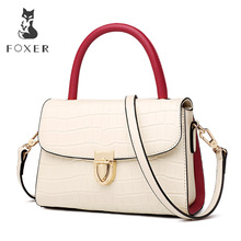 FOXER 2019 New Office Gentlewoman luxury  Shoulder Bags Lady Large Capacity Split Leather high quality Elegant Messenger Bags