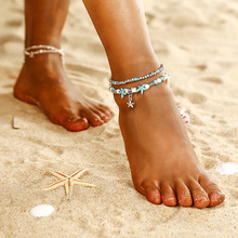 Retro Starfish Mizhu Yoga Ms. Anklet New Multilayer Beach Pendant Pearl Double Layer Ankle Chain Jewelry G