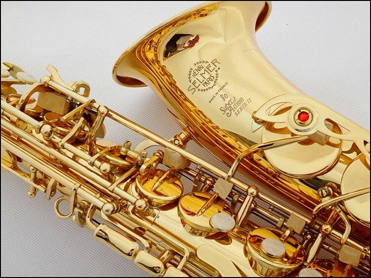 Vente chaude 802 saxophone alto Instruments de Musique saxofone Électrophorèse or professionnel sax et Dur boxs