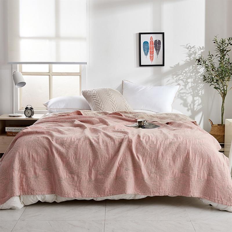 ZDFURS * doux confortable 100% coton mousseline couverture adulte enfants bambin été couette lit couverture Twin 150x200 cm complet 200x230 cm - 5