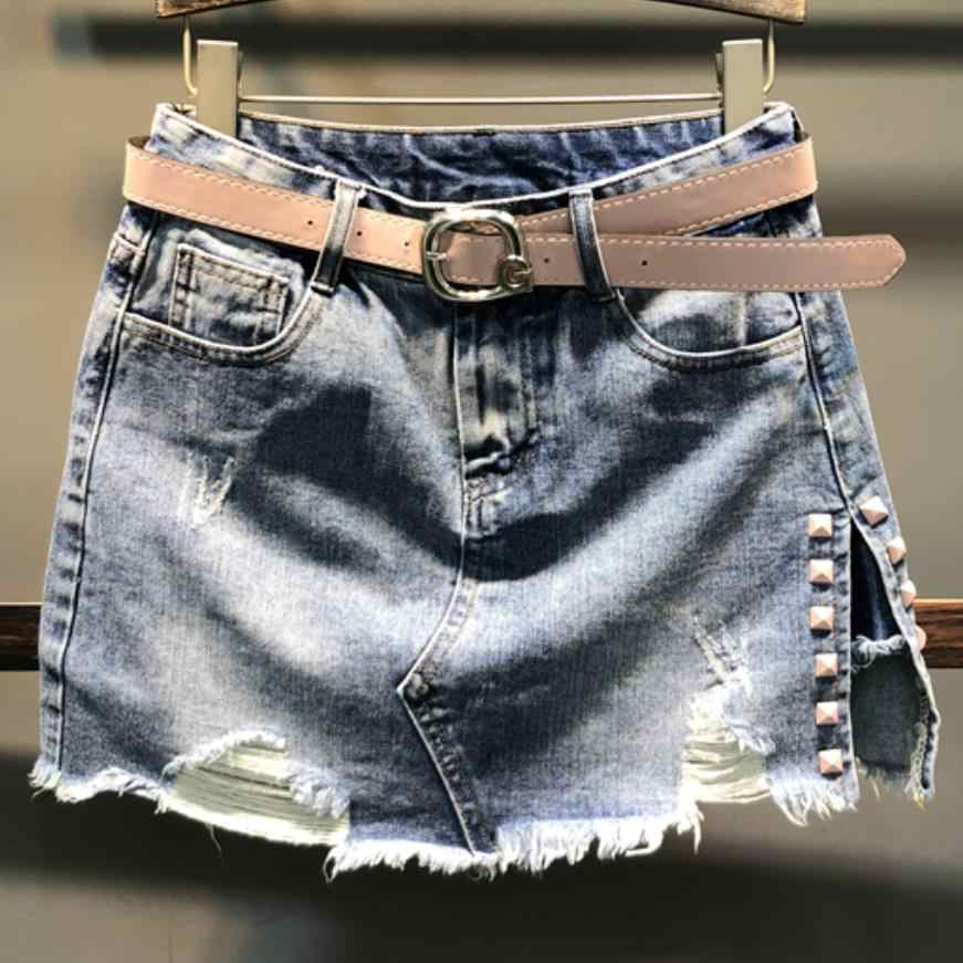 Denim Rock frühling auutmn mode hohe taille mini rock frauen unregelmäßige split nieten jeans rock a-line plus größe 2XL