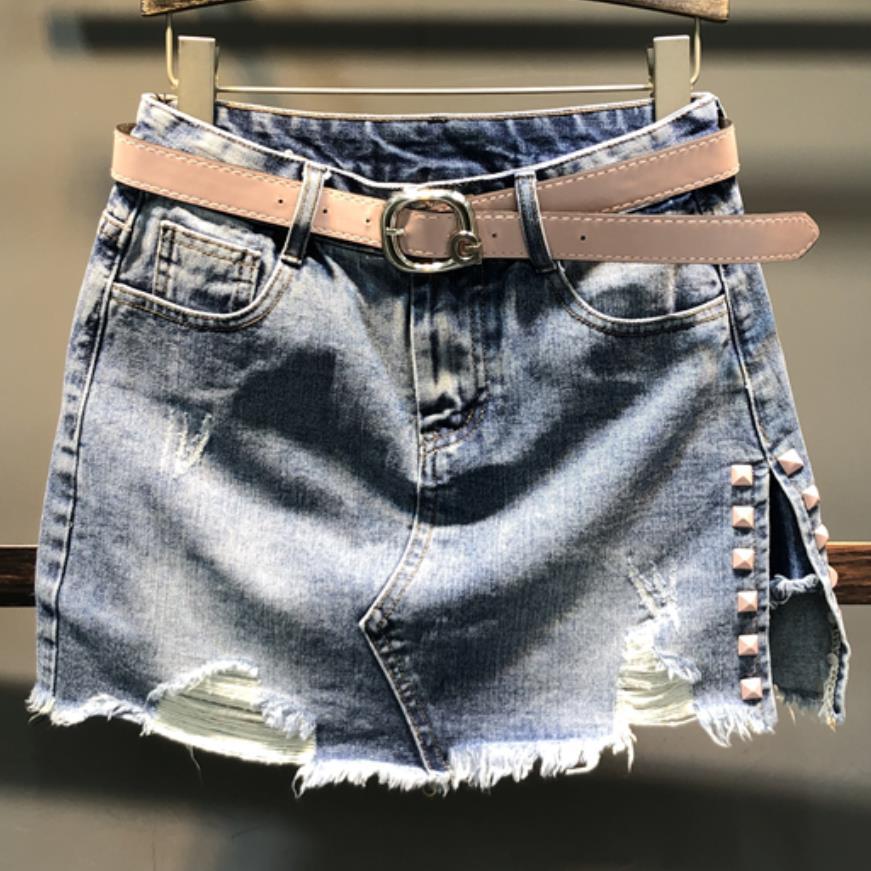Denim Skirt Spring Auutmn Fashion High Waist Mini Skirt Women Irregular Split Rivets  Jeans Skirt A-line Plus Size 2XL