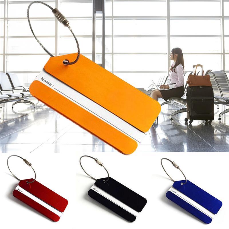 Diseño de Moda aleación de aluminio equipaje de viaje etiqueta tarjeta correas maleta nombre ID dirección etiquetas accesorios de viaje