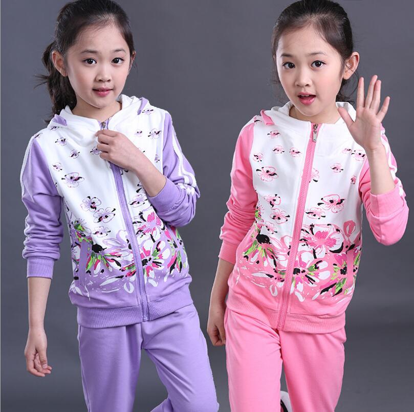 ФОТО Zipper Hooded  Sport Suit Print Flower Toddler Girl Clothing Long Sleeve Leisure Conjunto Infantil Menina Girls Overalls