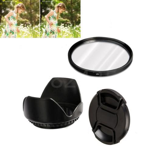 3in 1 set 58mm UV Filter + Lens Hood + Lens Caps for Canon EOS 60D 60Da 77D 80D 100D 200D 760D 800D 1000D 1100D 1200D 1300D sakar 58mm 2 2x telephoto lens filter set
