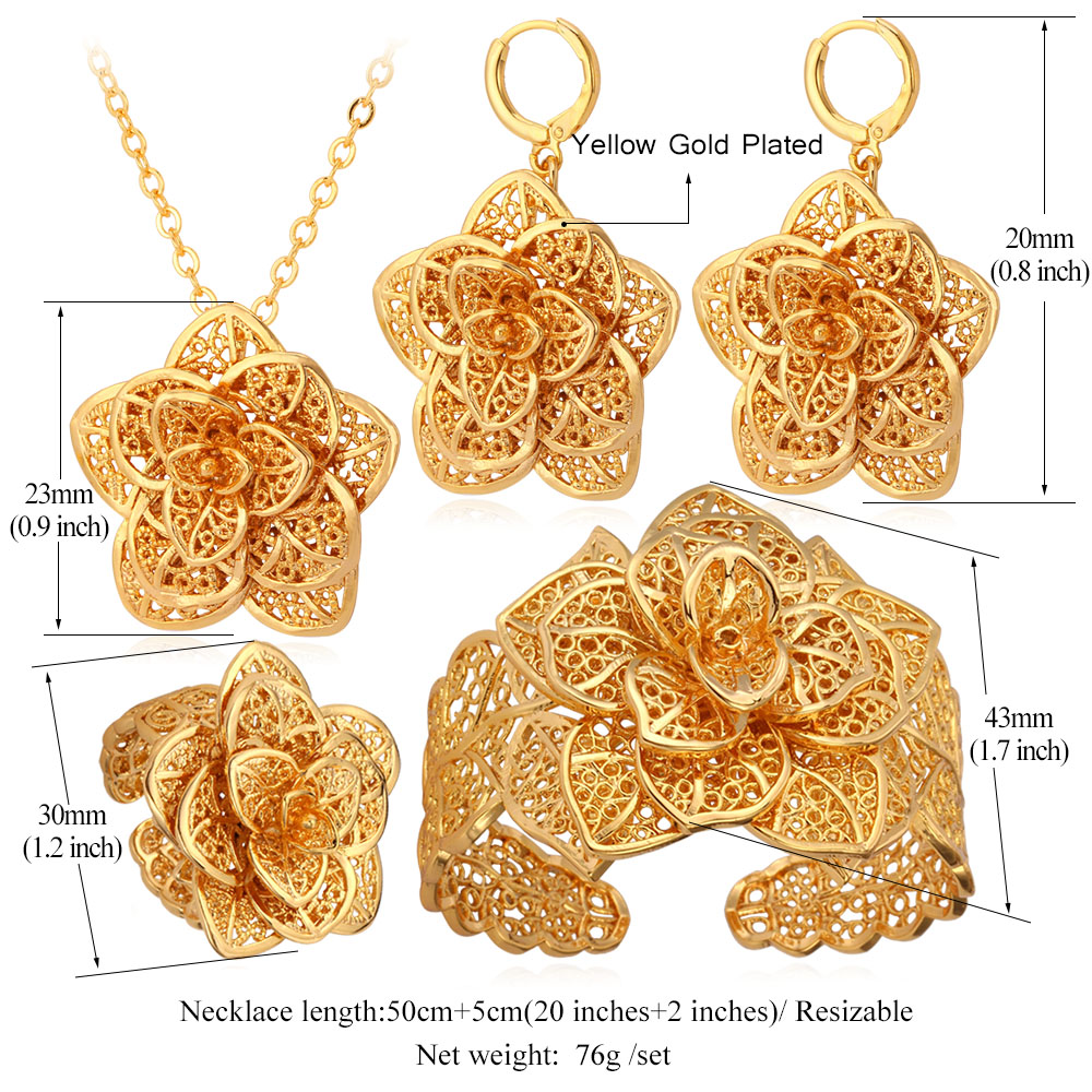 Image 4 - U7 Vintage Big Flower Jewelry Sets Gold Color Necklace Cuff Bracelet Earrings And Ring Bridal Wedding Jewelry For Women Gift S56set generatorset up tattoo machineset hat -