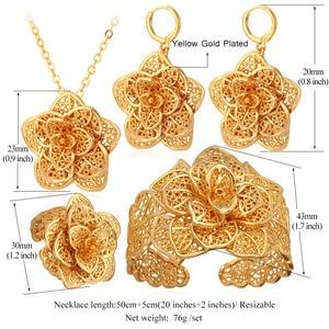 Image 4 - U7 Vintage Flower Jewelry Sets Gold Necklace Cuff Bracelet Drop Earrings & Ring Bridal Wedding Jewelry Set For Women Gift S56