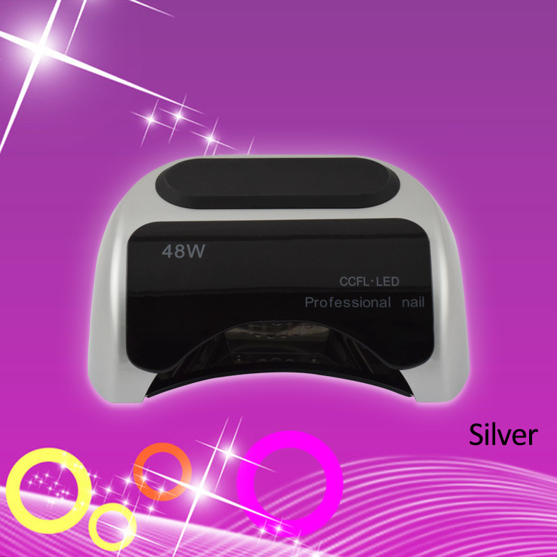 Professional 48W Silver CCFL UV LED Light Nail Lamp For Gel Nail Polish Art Automatic Hand Sensor Nail Art Tools Polish Machine art silver art silver ar004dujjz59