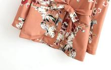 Chic Flower print Sashes Waist Orange Blazer New Woman Shawl Collar Slim fit Mid long Suit Jacket Coat Outerwear With Belt