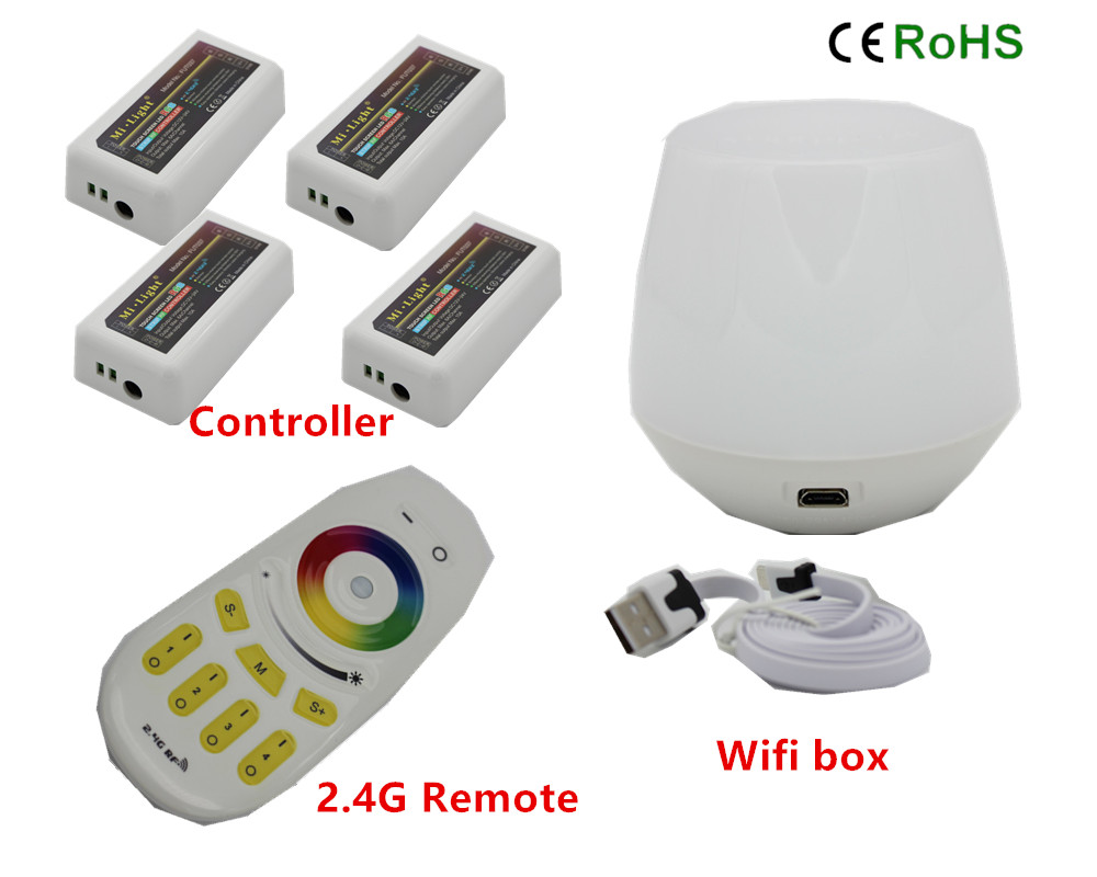 WiFi Controller led mi light hub+ RF touch 4 Zone remote+4pcs 2.4G Controller for LED Strip RGB RGBW RGBWW 12V-24V Free ship mi light wifi controller 4x led controller rgbw 2 4g 4 zone rf wireless touching remote control for 5050 3528 led strip