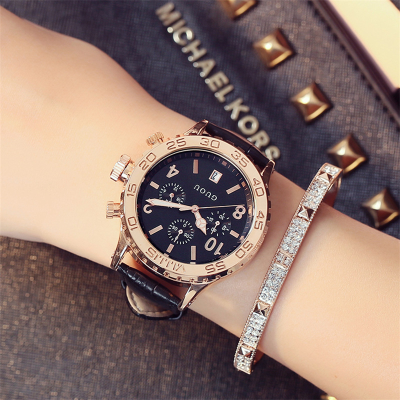 Fahsion Guou Luxury Brand Large Dial Gold Leather Real Three Eyes Calendar Qatch Waterproof Ladies Man Fashion Quartz Watches
