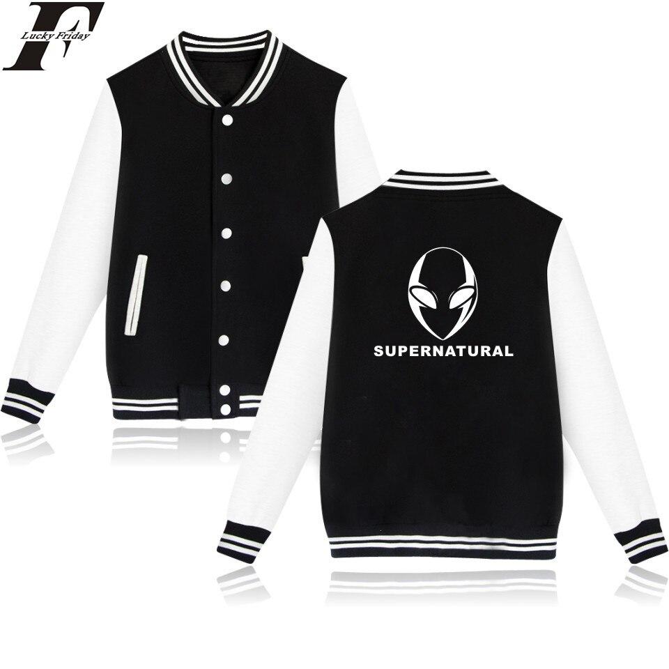 LUCKYFRIDAYF Supernatural Baseball font b Jacket b font Kawaii Printed Funny Oversized font b Jacket b