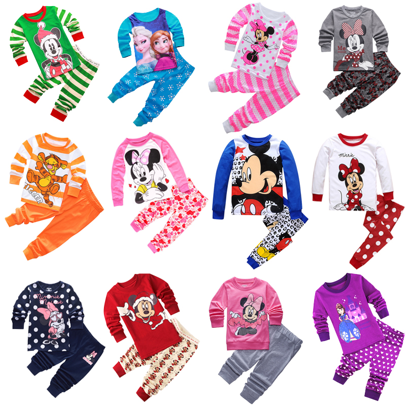 New Kids Toddler Baby Girls Anna Elsa Tigger Mickey Minnie Mouse Sleepwear Pj's Cartoon Long Sleeve Top+Pant 2pcs Pajamas Sets