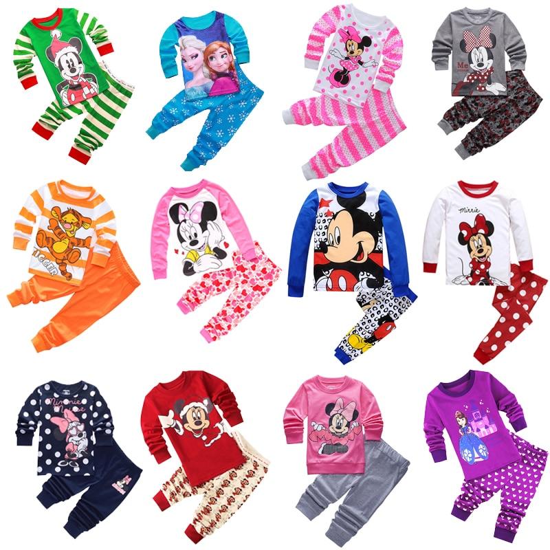 New Kids Toddler Baby Girls Anna Elsa Tigger Mickey Minnie Mouse Sleepwear Pj's Cartoon Long Sleeve Top+Pant 2pcs Pajamas Sets