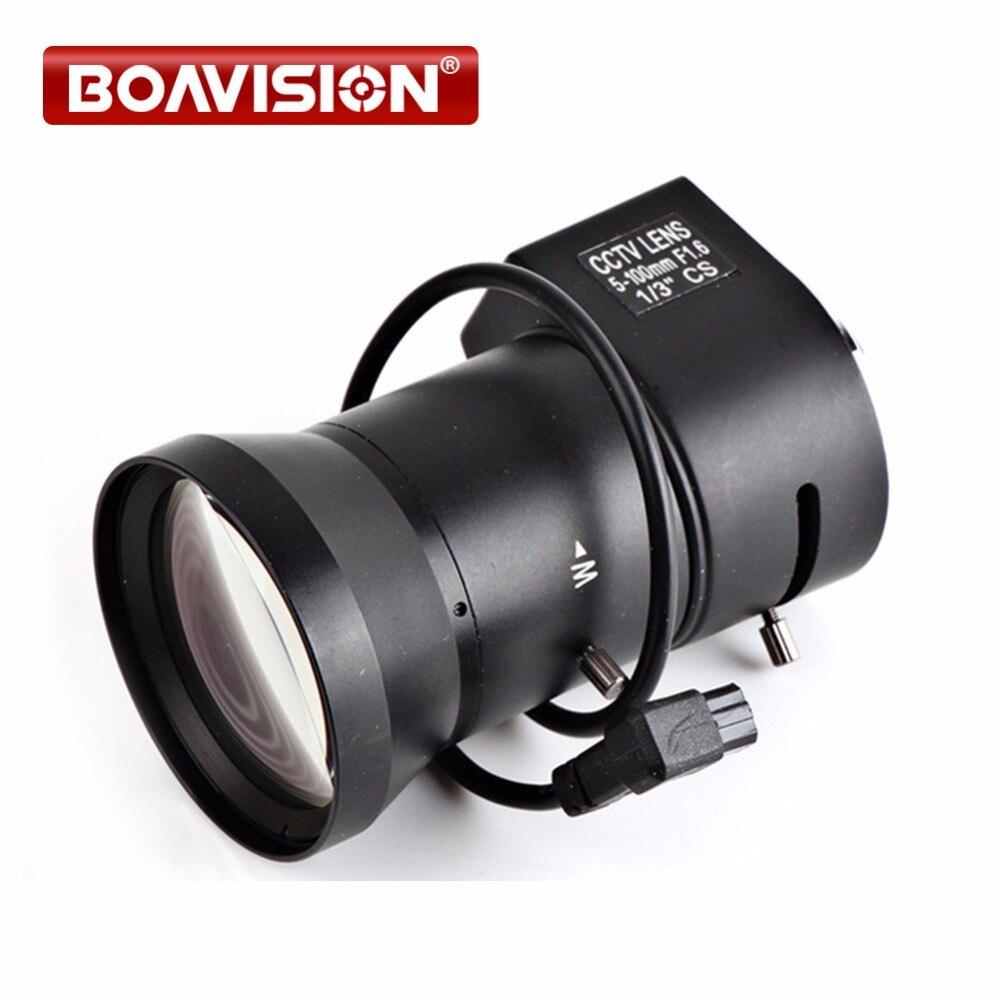 IP camera lens bullet camera Varifocal 5~100mm  Aperture Range 1/3 Auto Iris F1.8 CS mount DC Drive Lens for Security CCTV 1 3 cs 5 50mm cctv lens ir f1 6 aperture focal manual iris for ip box camera