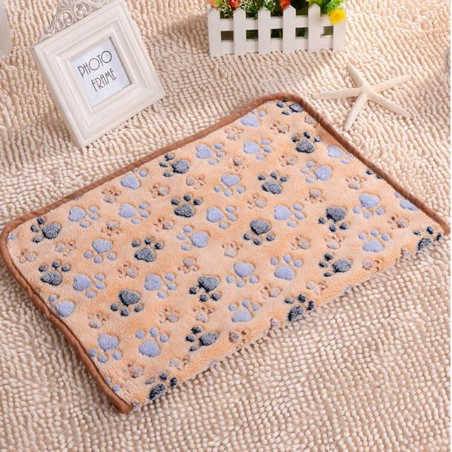 Best 40x60cm Cute Paw Pet Sleep Warm Dog Cat Mat Puppy Soft Coral Fleece Blanket Beds Pet Mats Sofas