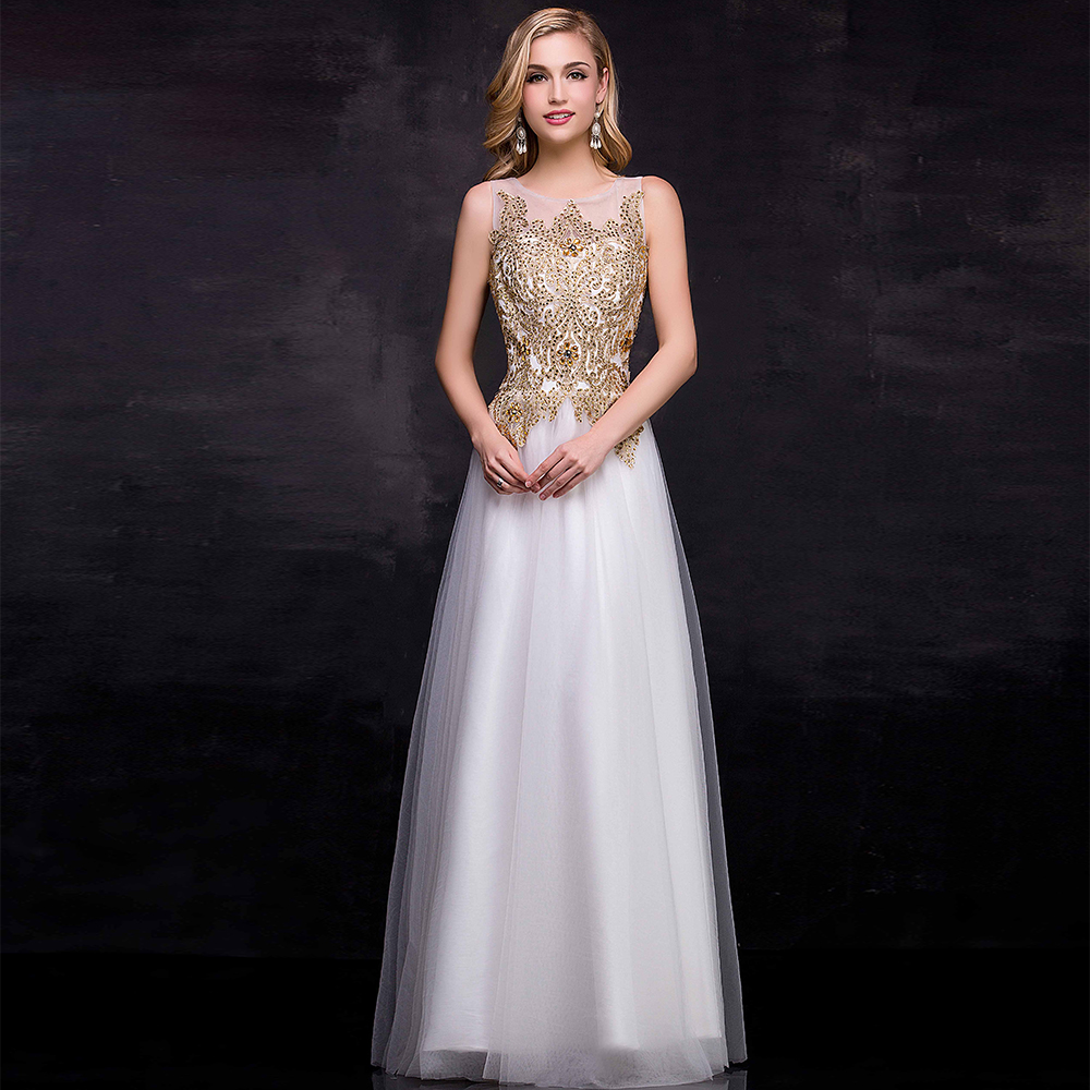 Elegant Gold and White Prom Dresses Promotion-Shop for Promotional ...