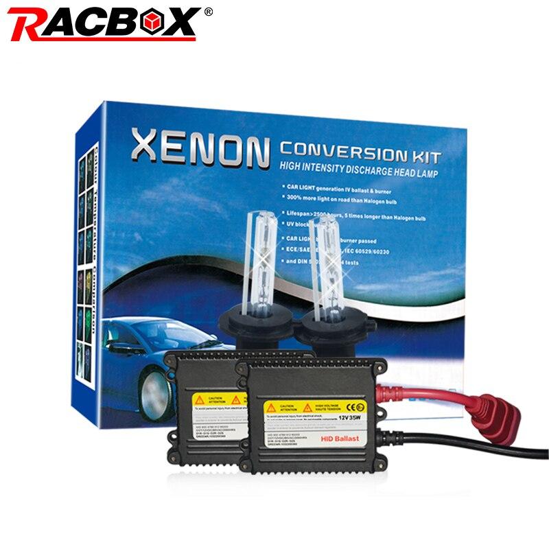 RACBOX 35W 12V HID Xenon Slim Single Conversion Headlight Kit H1 H3 H7 H4-1 H8/H9/H11 9005/HB3 9006/HB4 4300K 6000K 8000K 12000K duu 2pc h1 h3 h7 h11 9005 9006 d2s 12v 35w hid xenon bulb auto car headlight replacement lamp 4300k 5000k 6000k 8000k 10000k 120