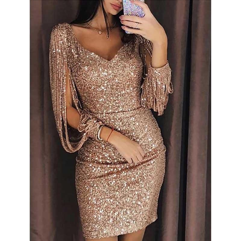 Multiflora Fashion Gold Glitter Dress Sexy Mini Party Dress Women Evening  Black Long Sleeve V- 368f2f19a361